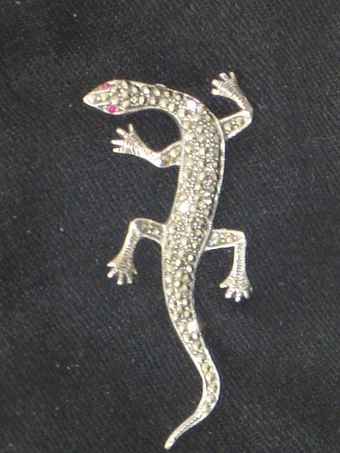 Vintage Silver And Marcasite Lizard Brooch Sold